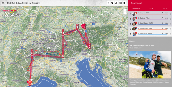 RedBullXAlps google success livetracking screenshot